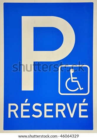 Parking sign for handicap people