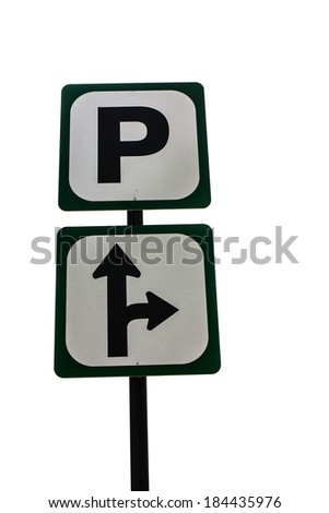 Parking signal in the white background - stock photo