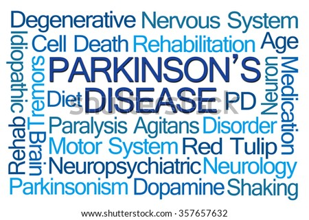 Parkinson's Disease Word Cloud on White Background - stock photo