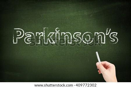 Parkinsons written on a blackboard - stock photo
