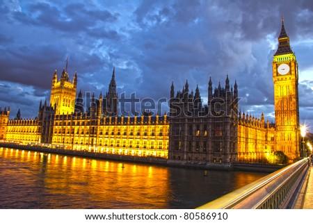 Parliament and Big Ben at night, London, England - stock photo