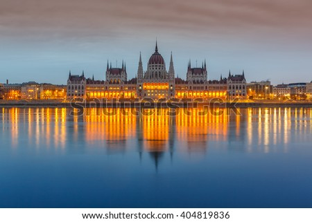 Parliament building at dusk, Budapest - stock photo