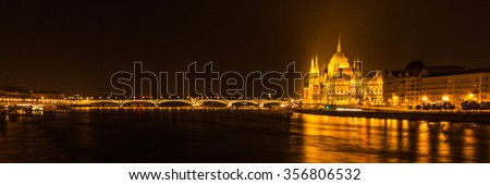 Parliament building Budapest by night Hungary