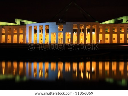 Parliament Building, Canberra, Australia, at night. - stock photo
