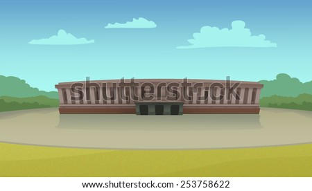 Parliament building illustration on a sunny day. Digital raster illustration. - stock photo