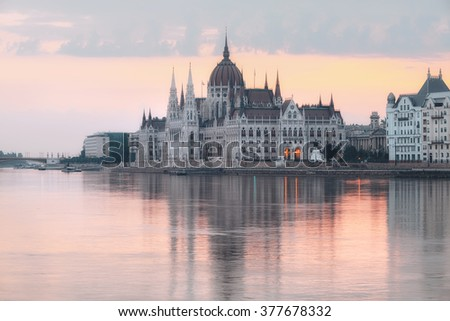 Parliament building in Budapest, Hungary, at dawn - stock photo