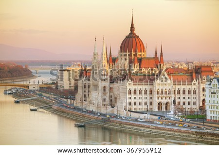 Parliament building in Budapest, Hungary at sunrise - stock photo