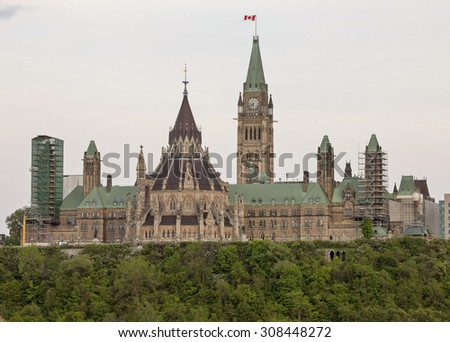 Parliament Building Ottawa Canada downtown capital city - stock photo