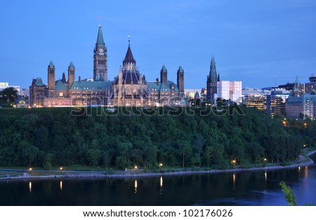 Parliament Buildings and Library at night, Ottawa, Ontario, Canada - stock photo