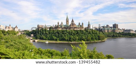 Parliament Buildings and Library, Ottawa, Ontario, Canada - stock photo