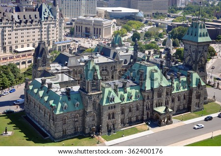 Parliament Buildings East Block Aerial view, from Peace Tower, Ottawa, Ontario, Canada. - stock photo