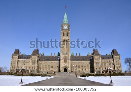 Parliament Buildings in winter, Ottawa, Canada - stock photo