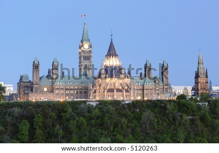 Parliament Hill Canada at Dusk - stock photo