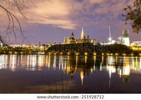 Parliament Hill in Ottawa at night - stock photo