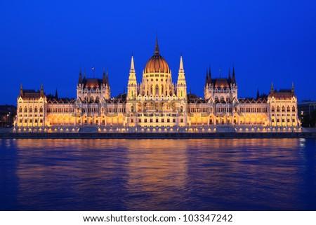 Parliament of Budapest, Hungary at night - stock photo