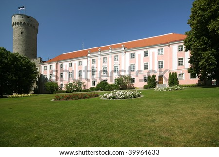 Parliament of Estonia and Pikk Hermann bastion from the Garden of Governor, in Tallin