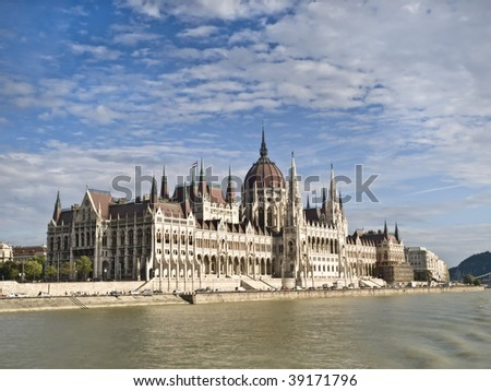 Parliament of Hungary, located in Budapest, seen from the river Danube - stock photo
