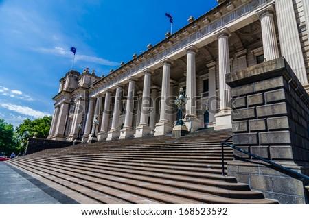 Parliament of Victoria , Melbourne , Australia - stock photo