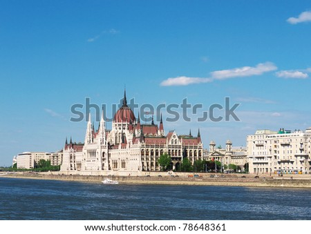 Parliament on the bank of the Danube river, Budapest, Hungary