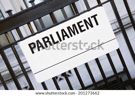 Parliament Street Sign, Westminster; London; England; UK - stock photo