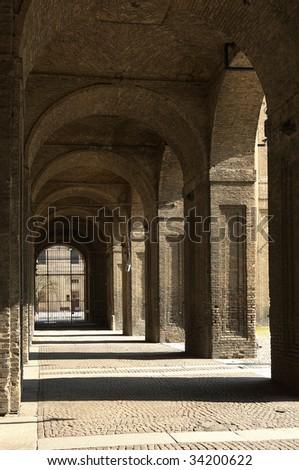 Parma,Emilia Rumagna,Italy,the Palace of Pilotta,the arches, 1583-1622 - stock photo
