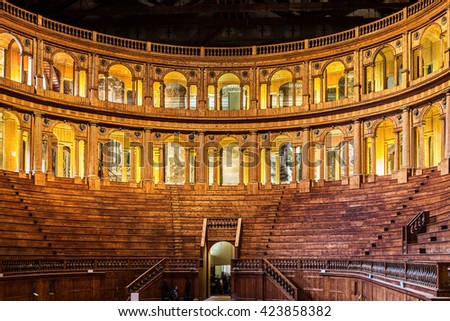 PARMA, ITALY - JANUARY 05, 2016: Museum of Farnese theatre in Parma, Emilia Romagna, Italy. The date of construction is 1618. - stock photo