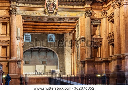 PARMA, ITALY - JANUARY 05, 2016: Stage in historic Farnese theatre in Parma, Italy. Interior decorated with wooden material. - stock photo