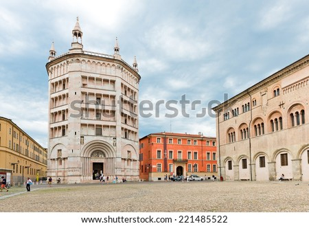 PARMA, ITALY -JULY 20 2014: Cathedral, the Baptistery on Piazza del Duomo, Parma, Italy  - stock photo