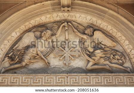 PARMA, ITALY - MAY 01, 2014: Angels. Basilica Santa Maria della Steccata. Basilica is a Marian shrine made ??in Parma between 1521 and 1539 and in 2008 elevated to the rank of minor basilica - stock photo