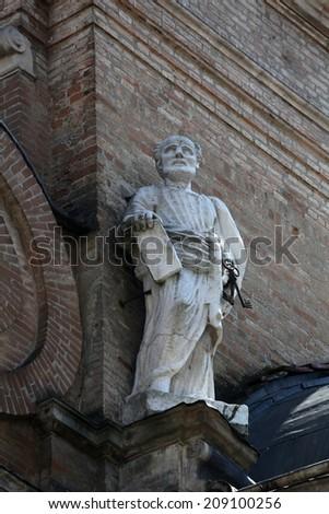 PARMA, ITALY - MAY 01, 2014: Saint Peter. Basilica Santa Maria della Steccata. Basilica is a Marian shrine made in Parma between 1521 and 1539 and in 2008 elevated to the rank of minor basilica  - stock photo