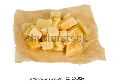 parmesan cheese cubes isolated on white