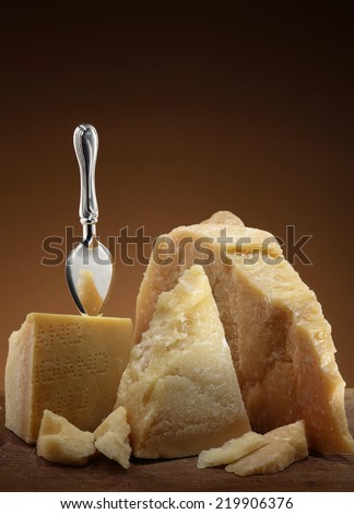 Parmesan cheese with cheese knife / traditional Italian cheese - stock photo