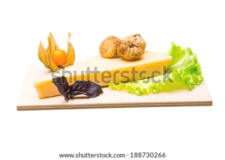 Parmesan cheese with fig - stock photo