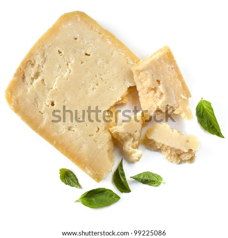 Parmesan cheese with fresh basil leaves, isolated on white background.  Overhead view. - stock photo