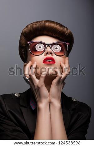 Parody. Portrait of Mimic Woman in Future glasses - Fantasy - stock photo