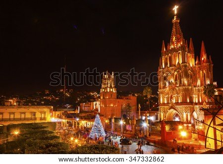 Parroquia Archangel church Jardin Town Square Night Christmas Tree Decorations San Miguel de Allende, Mexico. Parroaguia created in 1600s.