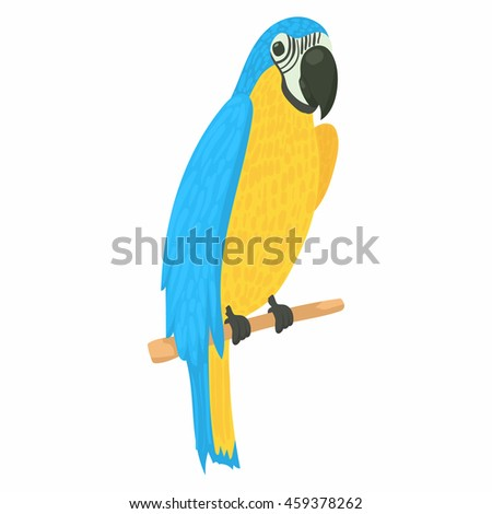 Parrot icon in cartoon style isolated on white background. Bird symbol