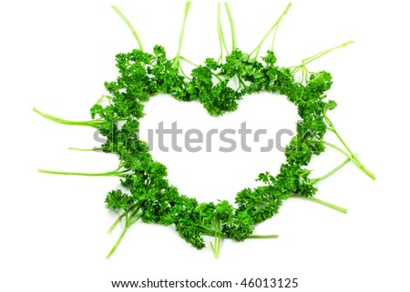 Parsley heart isolated on white - stock photo
