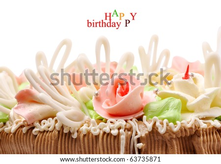 part cake on a white background - stock photo