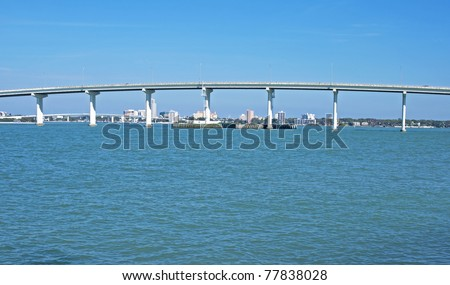 Part of a bridge in the Tampa Bay area. - stock photo