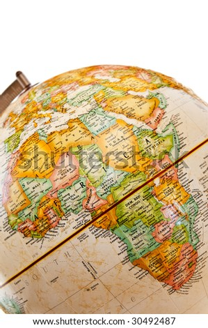 Part of a globe with map of Africa - stock photo