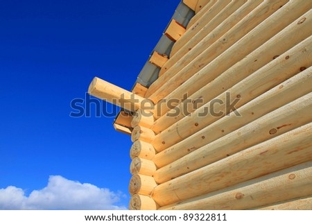 Part of a log cabin - stock photo