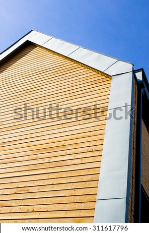 Part of a modern wooden eco building - stock photo