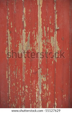 Part of a old wood-board texture painted on red. - stock photo