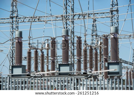 part of a power station for electricity - stock photo