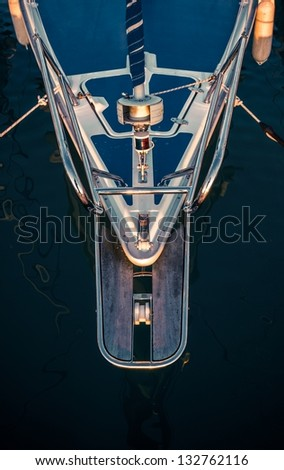 Part of a sailing boat closeup - stock photo