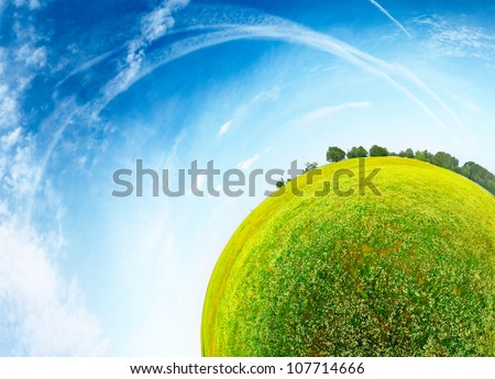 Part of a spherical panorama of a green meadow with trees and blue sky - stock photo
