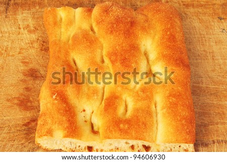 Part of a white pizza or italian focaccia 012