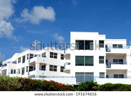 Part Of A White Tropical Condominium Complex - stock photo