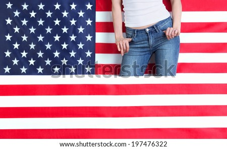 Part of a woman's body with American flag